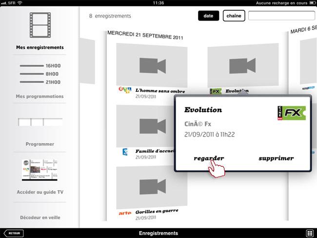 comment regarder les enregistrements de votre d codeur tv volution sur votre tablette. Black Bedroom Furniture Sets. Home Design Ideas