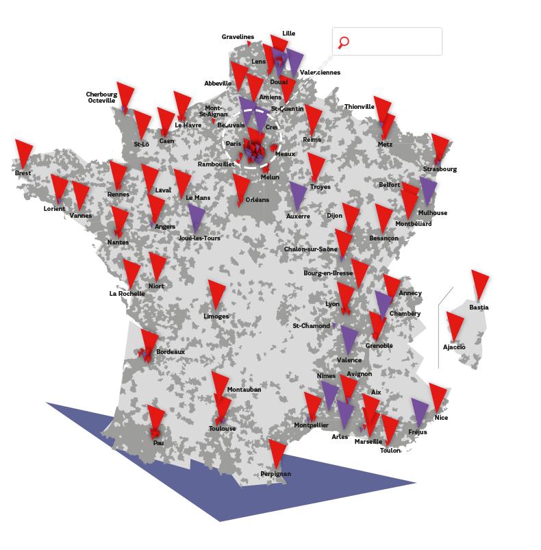 Carte de la couverture géographique