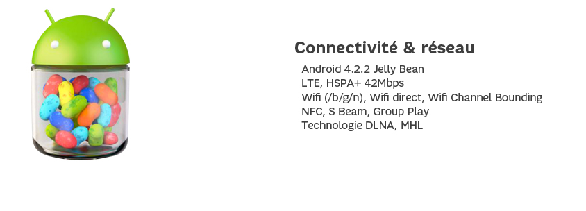 Connectivité et réseau : Android 4.2.2 Jelly Bean, LTE, HSPA+ 42Mbps, Wifi (/b/g/n), Wifi direct, Wifi Channel Bounding, NFC, S Beam, Group Play, Technologie DLNA, MHL