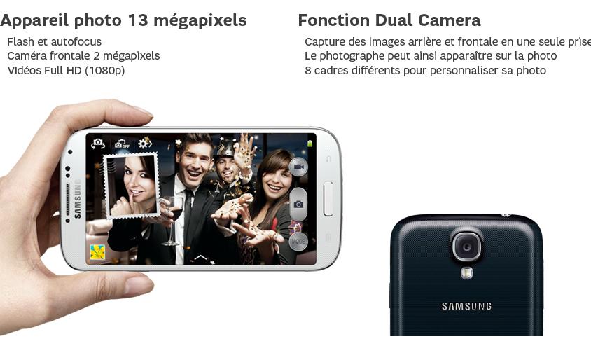 Appareil photo 13 mégapixels : Flash et autofocus - Caméra frontale 2Mpx - Vidéos Full HD (1080p) ; Fonction Dual Camera