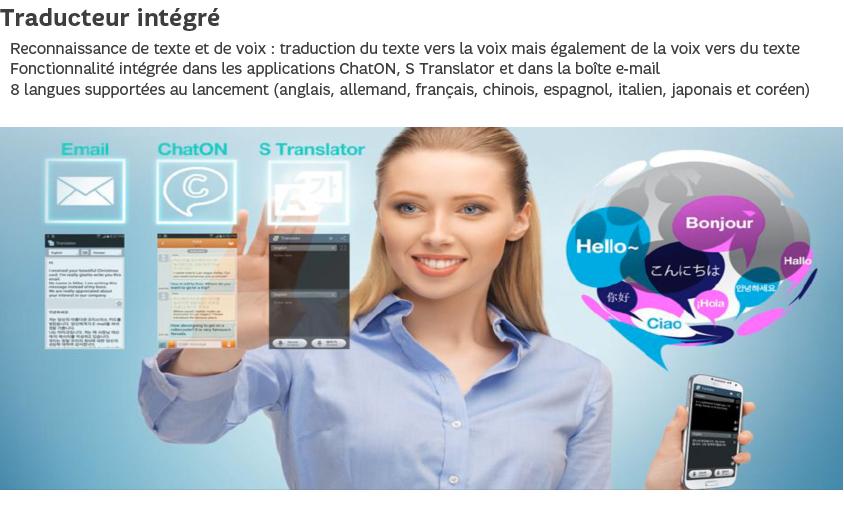 Traducteur intégré : Reconnaissance de texte et de voix, 8 langues supportées