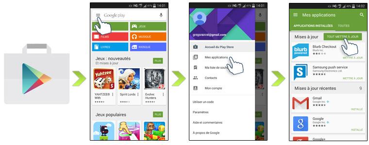 """Google a lancé une mise à jour, certes modeste, mais significative dans Play  Store, qui introduit une nouvelle interface de la page """"Mes jeux et applications."""
