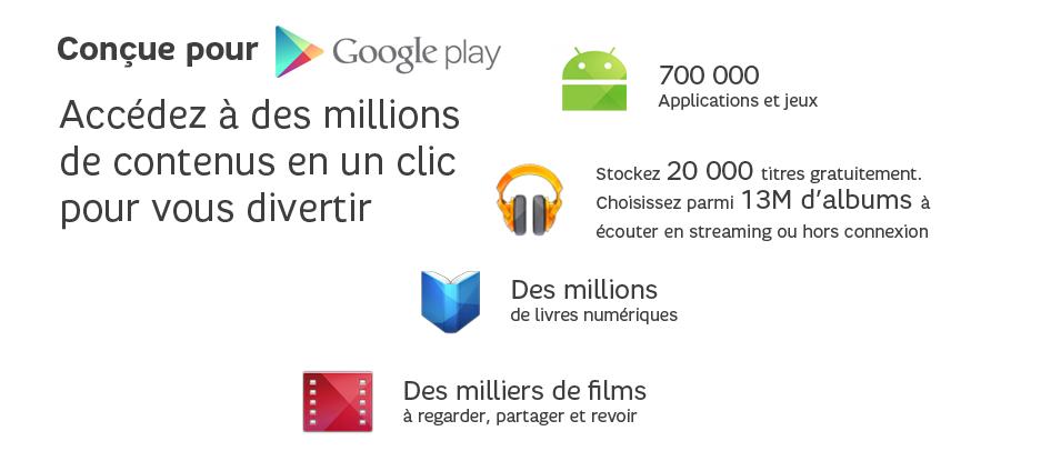 Accédez au à des millions de contenus en un clic pour vous divertir .Stocker 20000 titres gratuitement. Choisissez parmi 13M d'albums à écouter en streaming ou hors connexion. Des millions de livres numériques. Des milliers de films à regarder, partager et revoir