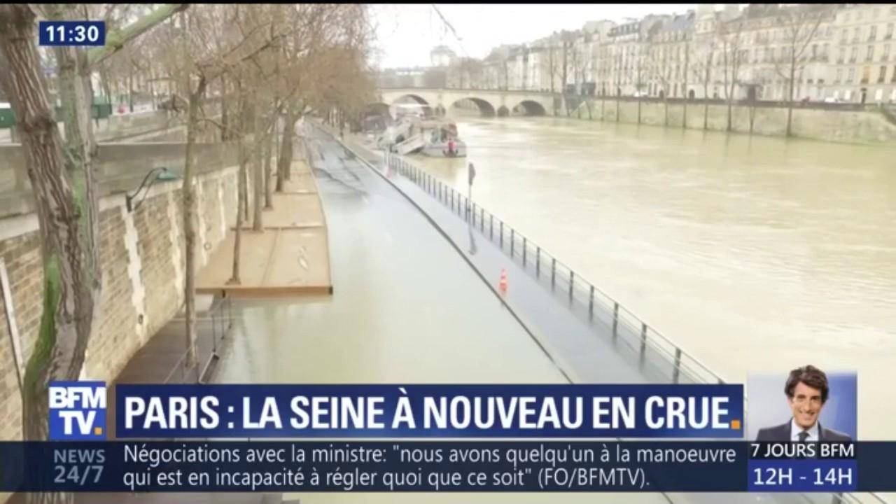 Crue de la Seine: la voie Georges Pompidou à nouveau fermée