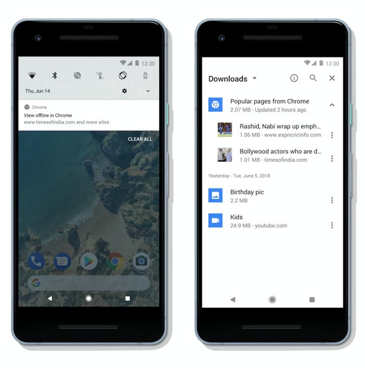 Chrome sur Android avec le mode hors connexion.