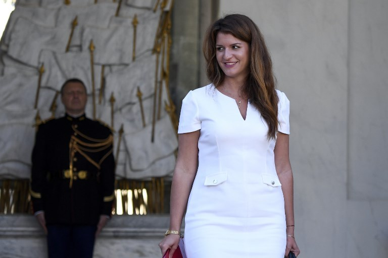 French Junior Minister for Gender Equality Marlene Schiappa looks on as she leaves after the weekly cabinet meeting at The Elysee Palace in Paris on October 10, 2018.  Eric FEFERBERG / AFP