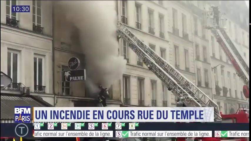 Paris : un immeuble en feu rue du Temple