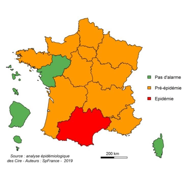 Carte épidémiologique du virus de la grippe en France sur la première semaine de l'année 2019