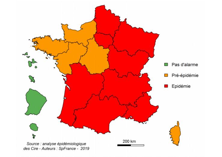 Etat d'avancée de la grippe pour la deuxième semaine du mois de janvier 2019.