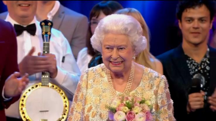 La reine Elisabeth II lors du concert donné en l'honneur de son 92e anniversaire.