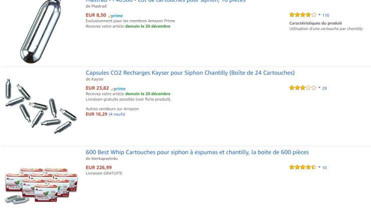 La vente de capsules de protoxyde d'azote est tout à fait légale en France. Elles sont notamment utilisées pour recharger les siphons à chantilly.