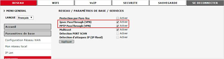 Je paramètre mon VPN