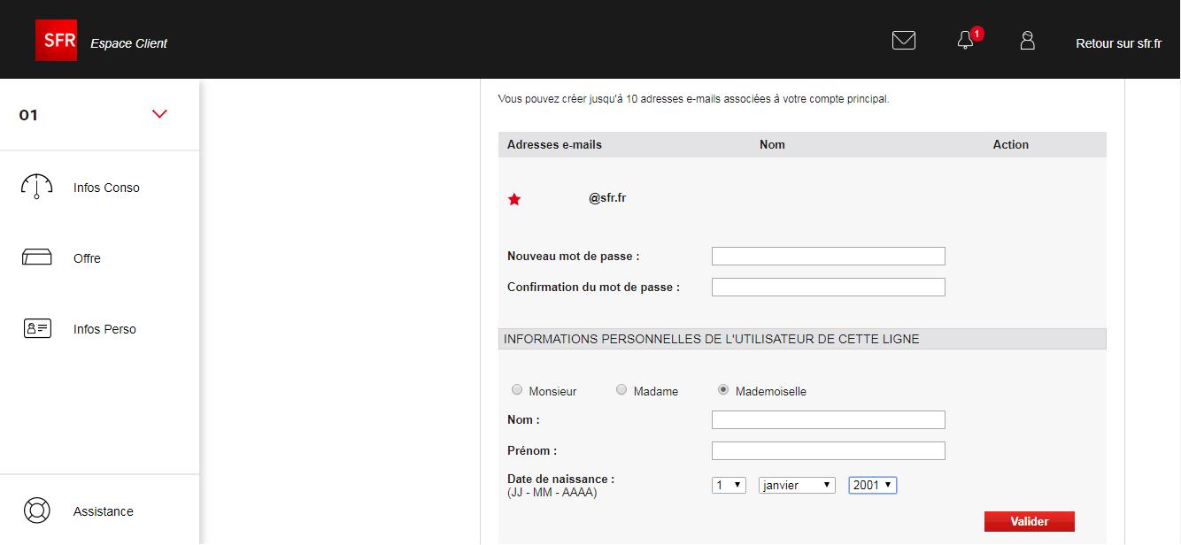 Ma messagerie SFR sur messagerie.sfr.fr