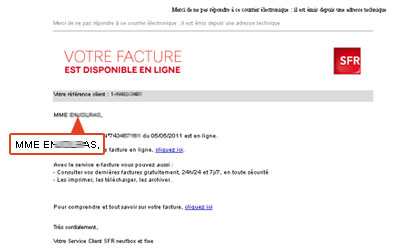 comment diff rencier un mail officiel sfr et un mail de phishing. Black Bedroom Furniture Sets. Home Design Ideas