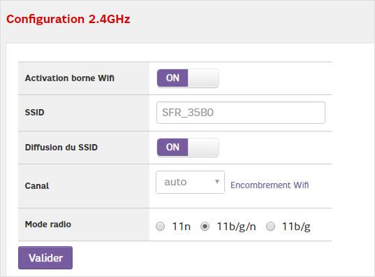 Je configure le réseau 2,4 GHz