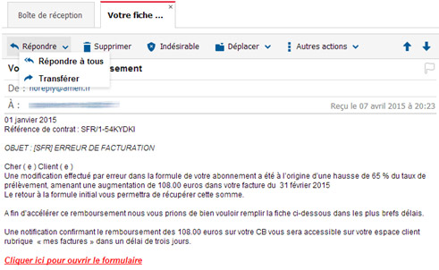 comment signaler un phishing la cellule pr vention et s curit sfr. Black Bedroom Furniture Sets. Home Design Ideas