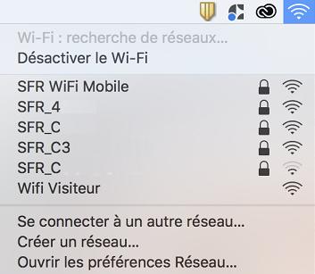 Je sélectionne le réseau WiFi de ma box