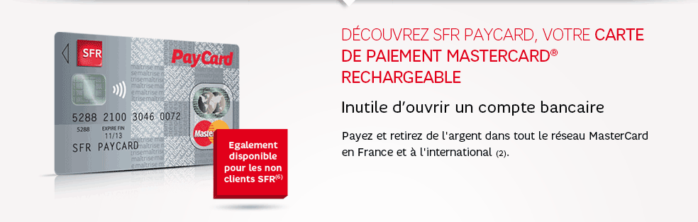 sfr paycard la carte de paiement mastercard rechargeable. Black Bedroom Furniture Sets. Home Design Ideas