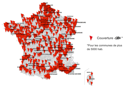 carte de France de la couverture 4G