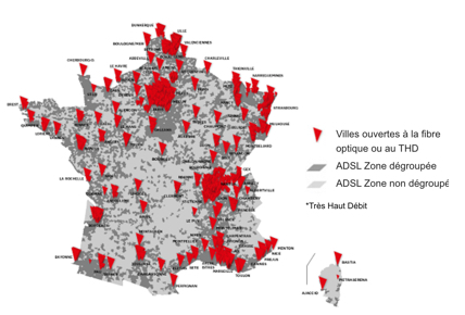 carte de France de la couverture optique, THD et ADSL