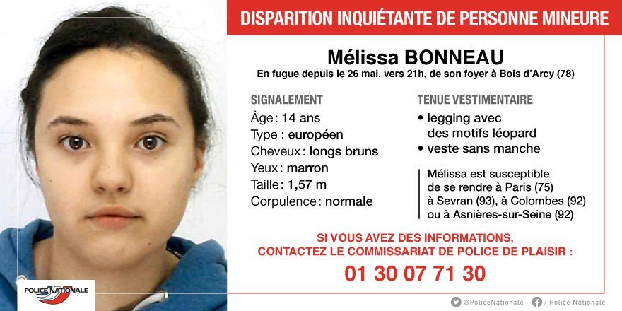 Appel à témoins - Une adolescente disparue dans les Yvelines