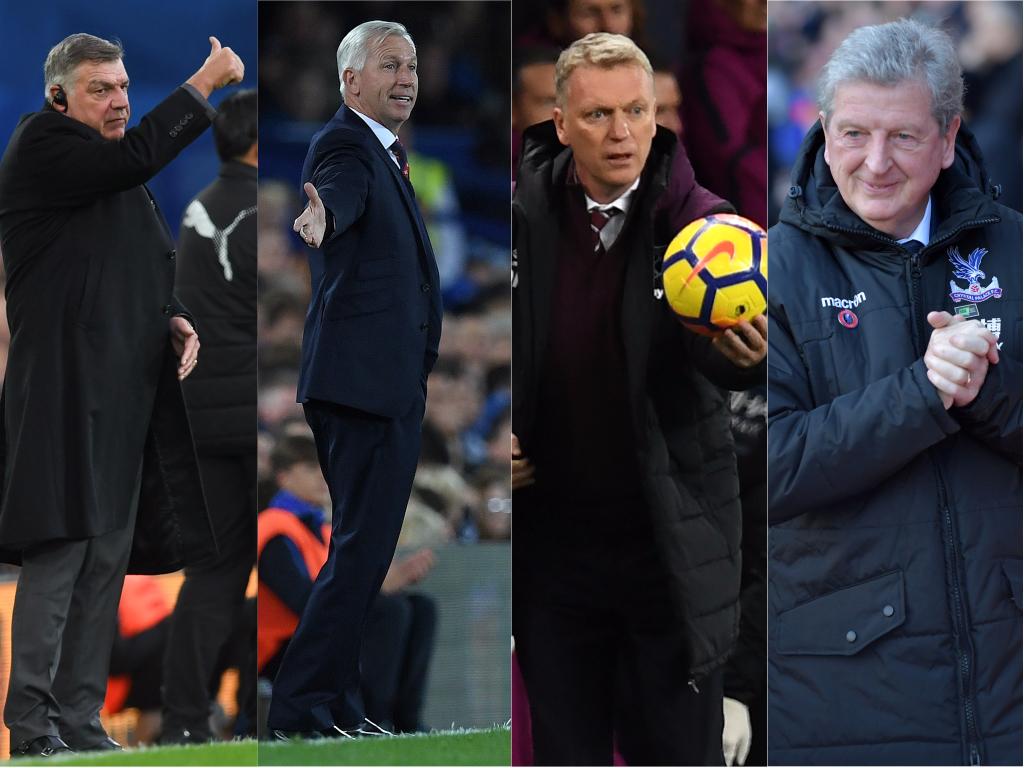 De gauche à droite : Sam Allardyce, Alan Pardew, David Moyes et Roy Hodgson