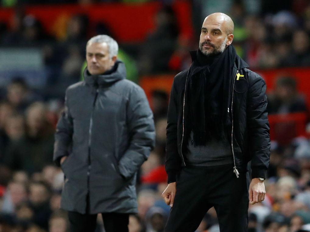 Pep Guardiola (à droite) et José Mourinho