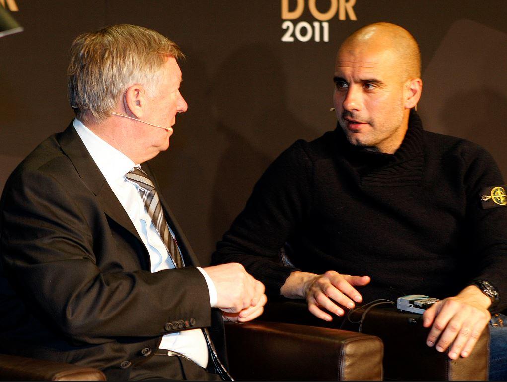 Pep Guardiola et Sir Alex Ferguson en pleine discussion