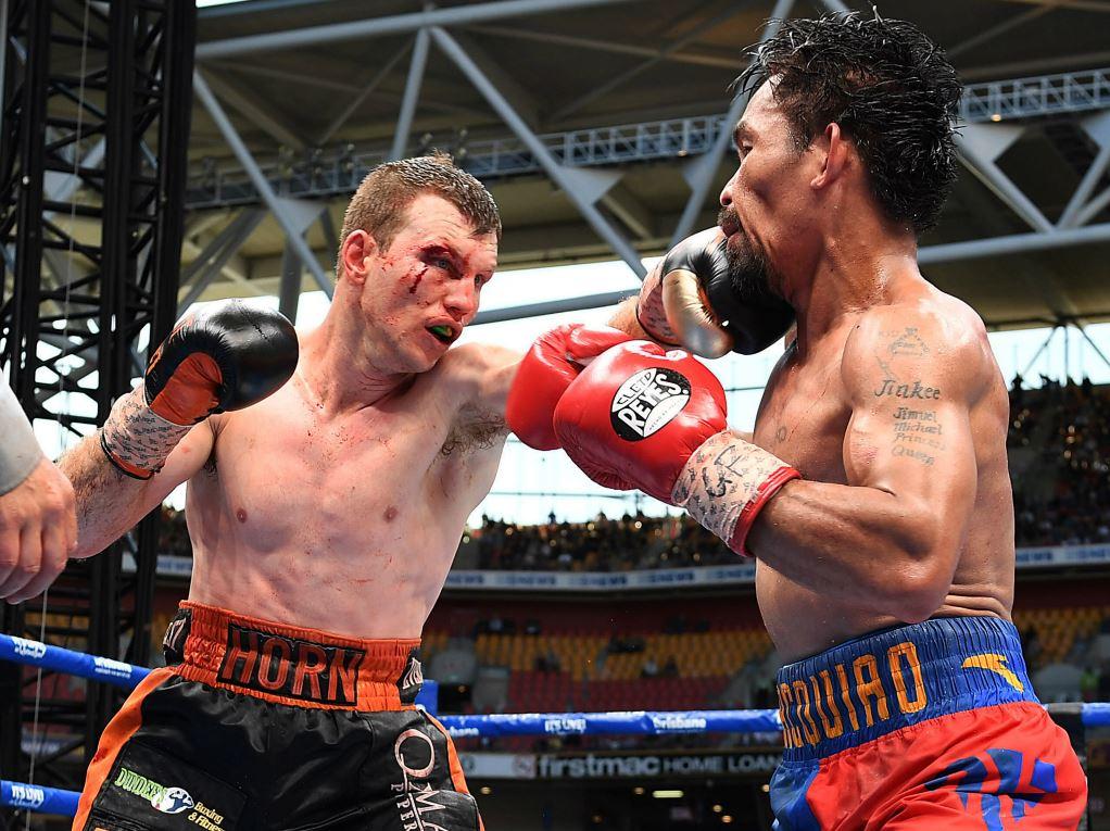 Jeff Horn (à gauche) lors de son combat face à Manny Pacquiao