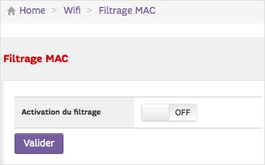 Je contrôle l'état du filtrage MAC