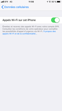 IPhone paramètre appel wifi