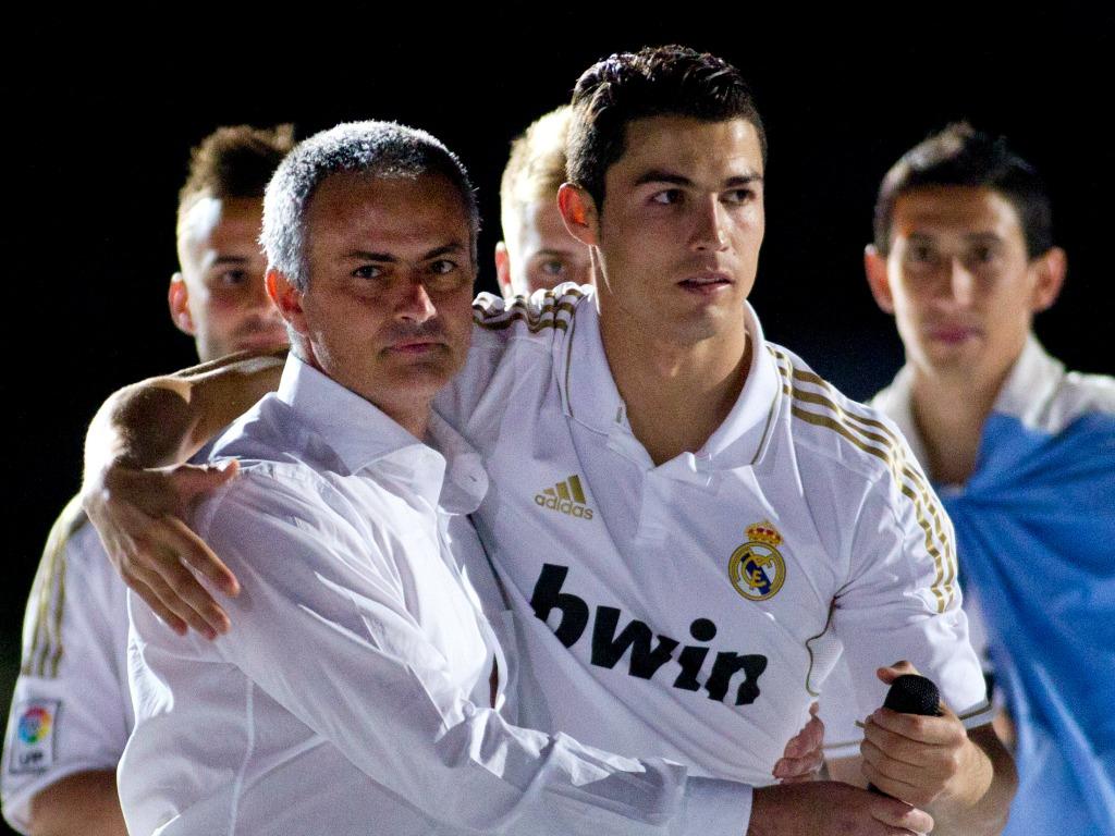 José Mourinho (à gauche) et Cristiano Ronaldo au Real Madrid en 2012