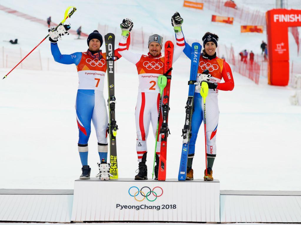 Le podium du combiné olympique de Pyeongchang