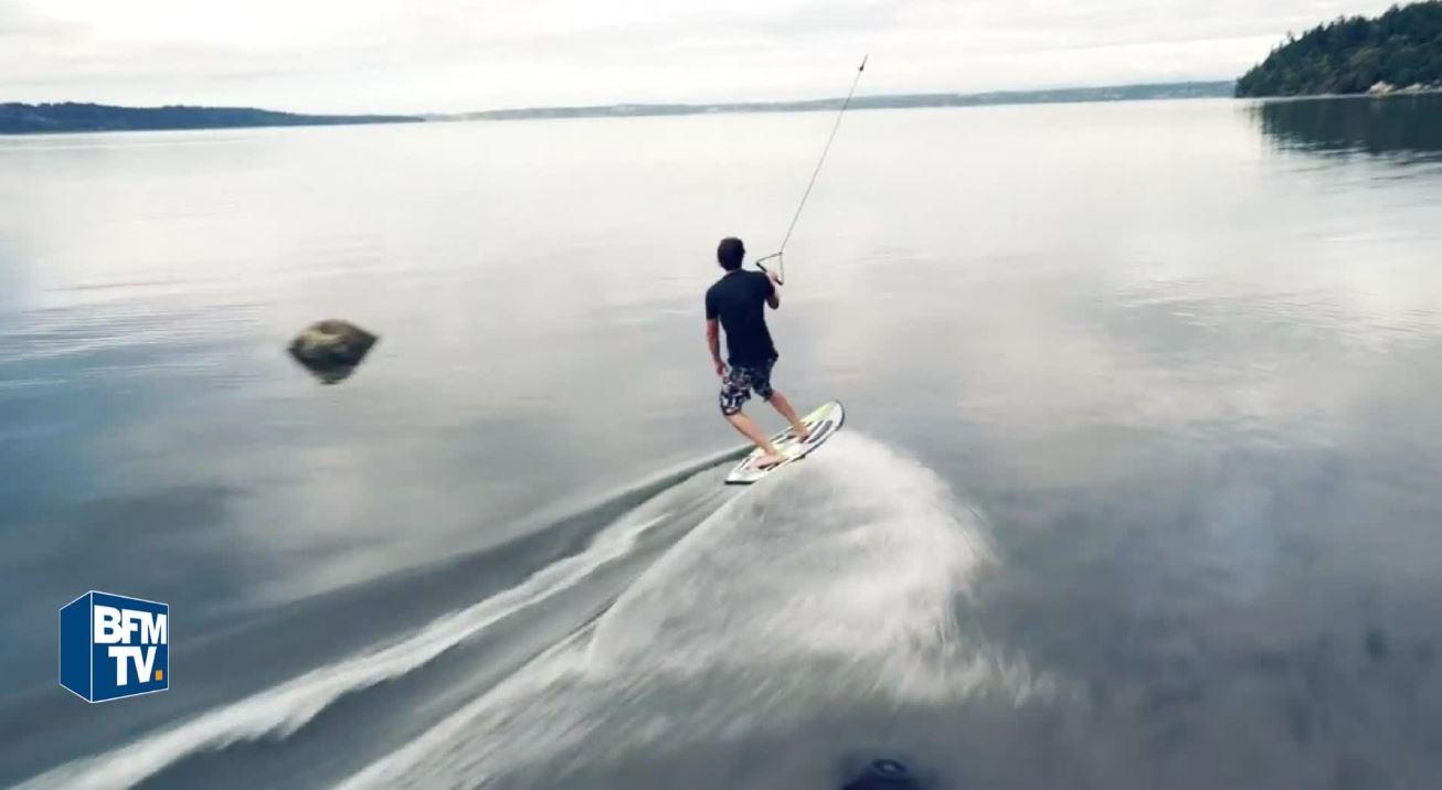 En video etonnant et efficace il tracte sa planche de surf avec un drone - Decorer sa planche de surf ...